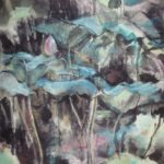 Lotus leaves and buds painted in a contemporary abstract Chinese brush style.