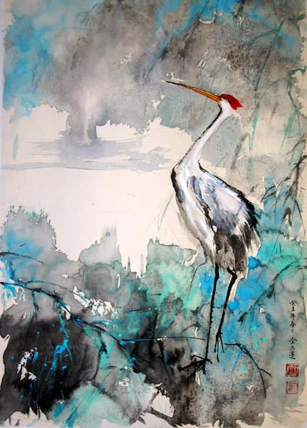 After the rain the crane stands near the water. Painted in the contemporary abstract style of brush painting.
