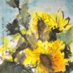 Sunflowers painted in a contemporary Chinese brush style with Western influences.