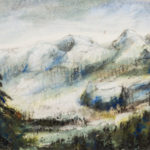 Contemporary Chinese Watercolor Painting of Lake Tahoe Mountains in Snow