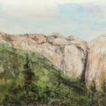 Contemporary Chinese Landscape painting of Yosemite National Park Mountains.