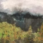Contemporary Chinese Brush Painting of Yosemite National Park with storm clouds.