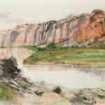 Contemporary Chinese Watercolor Painting of Zion National Park Hills.