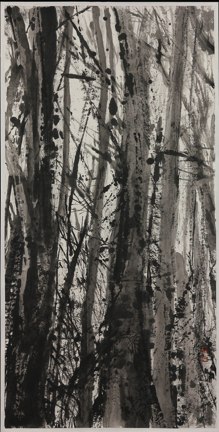 Black and white painting of the Northern California forest in severe drought with fallen leaves.