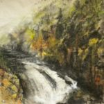 Gushing Spring in Yellowstone Park, contemporary Chines Brush painting by Amy Da-Peng King