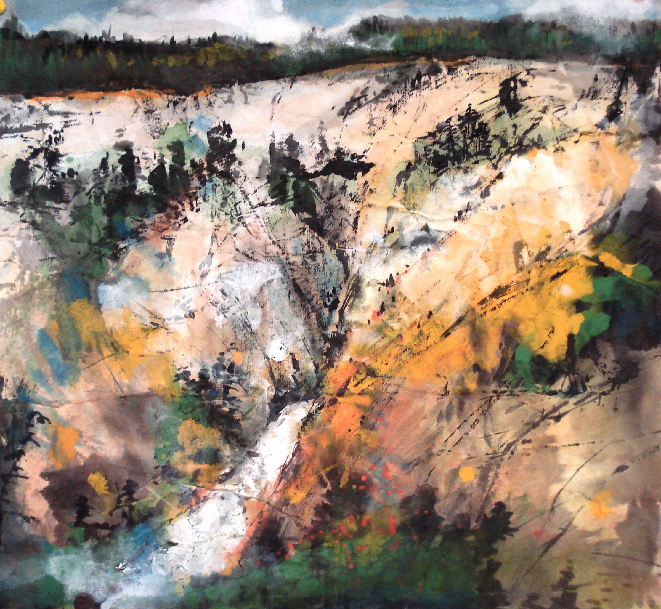 Chinese Brush painting, contemporary abstract style, Study of Yellowstone Park