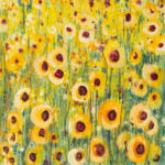 Abstract Chinese watercolor painting of a field of yellow flowers