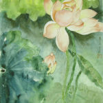 Beautiful Lotus blossoms painted in the contemporary style with western influences.