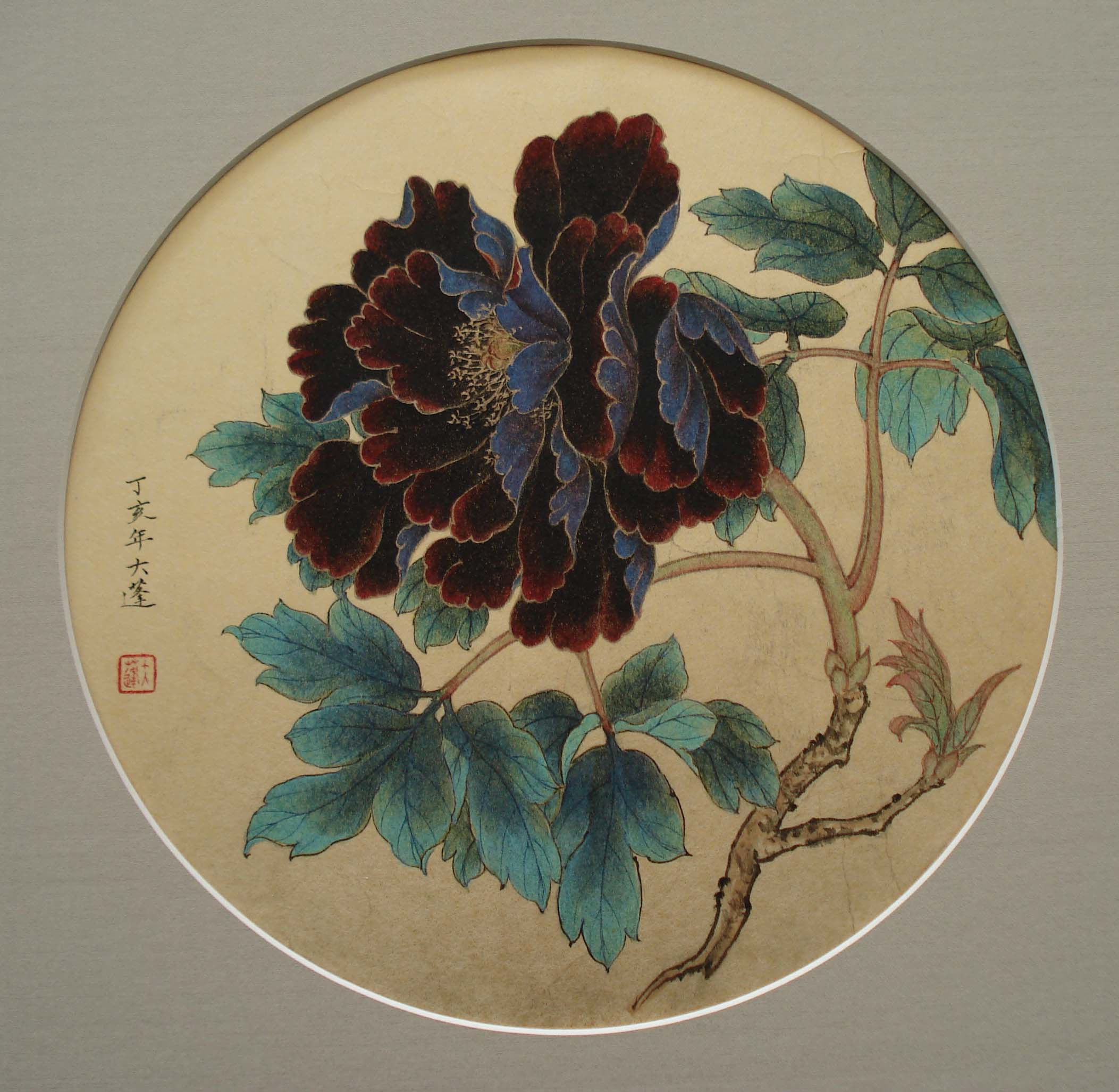Crimson and Purple Peony flower painted in the Old Master style.