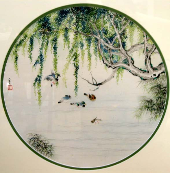 Ducks floating on Stow Lake in Golden Gate park. Traditional Style Chinese Brush Painting.