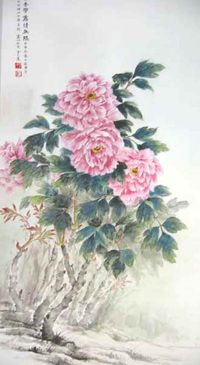 Spring peony blossoms in the breeze.