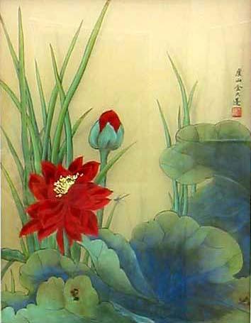 Crimson lotus and bud