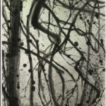 Abstract painting of lines, spatters and movement to evoke the density of the forest.