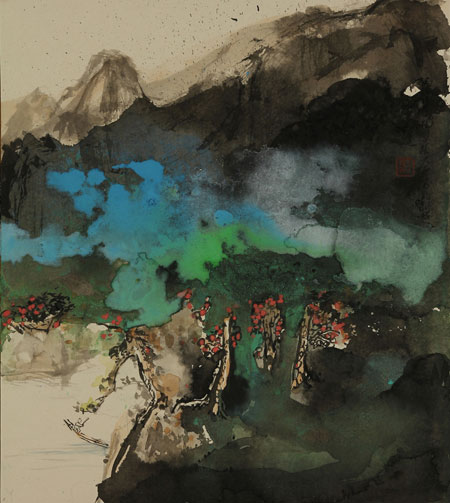 Abstract painting that evokes the summer mist in the landscape.