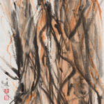 Chinese Ink painting suggesting tree trunks.