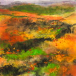 Abstract painting of hills in bloom