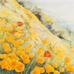 Landscape watercolor painting of California Poppies