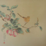 Yellow bird sitting on an apple tree branch with apples and leaves. Traditional Chinese Brush Painting, Old Master Style.