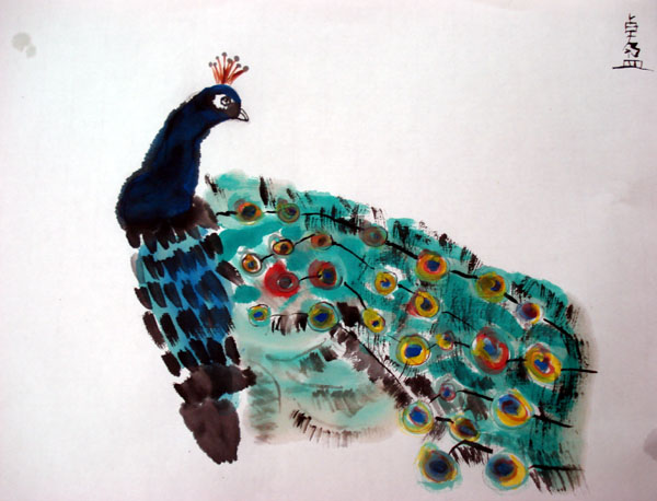 Peacock. Chinese brush painting by a nine year old student.