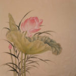 Lotus-2. Old Master Style Chinese Brush painting of pink lotus blossom with lotus leaves