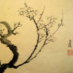 Plum - Old Master Style Traditional plum branch painting with Sumi ink on silk.