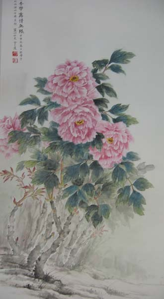 painting of peonies in the spring breeze inspired by the landscape around West Lake.