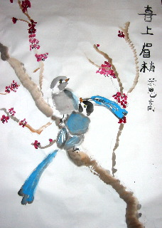 Birds on the flowering plum blossom branch - classic style