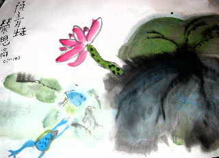 Lotus and frog in the pond