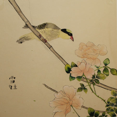 Rose and yellow bird traditional Chinese brush painting.
