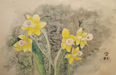 Yellow Daffodils in contemporary style.