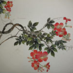 Trumpet vine with blossoms