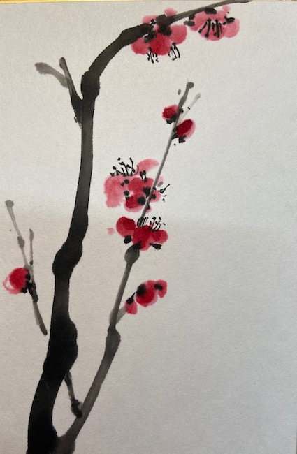 Chinese Brush Painting of plum tree before magic dots are added.
